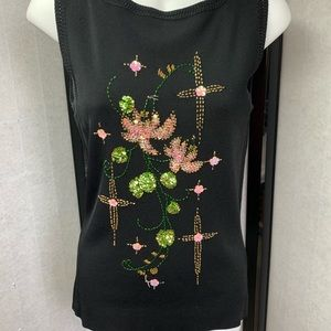 Tops - T18- 120- Black Top Colored Sequins Floral DDesigh